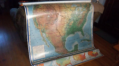 Vintage Collectible School Wall Map A.j. Nystrom 3 Layers United States Alaska