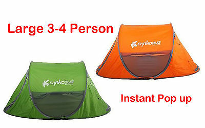 Easy instant Pop up Tent 3-4 person Large Camping Hiking Travel Beach Shelter
