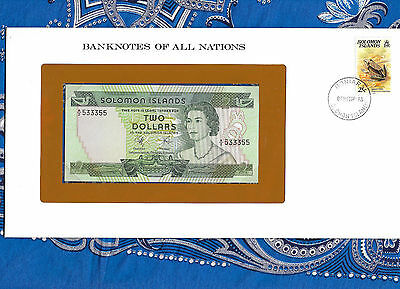 Banknotes of All Nations Solomon Islands 2 Dollars 1977 P 5 UNC Fancy 533355