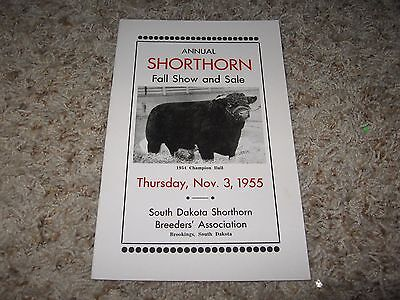 NOV 3 BROOKINGS, SD 1955 ANNUAL SHORTHORN FALL SHOW /& SALE  BROCHURE