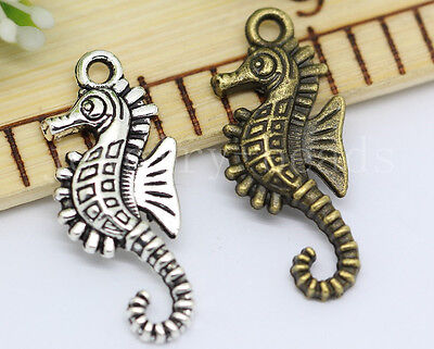 10/40/200pcs Antique Silver/Bronze Lovely Hippocampus Charms Pendant 29x12mm New
