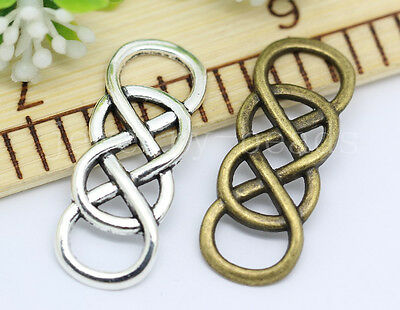 6/30/150pcs Tibetan Silver Double 8 Eight Infinity Charms Connectors 32x12mm New
