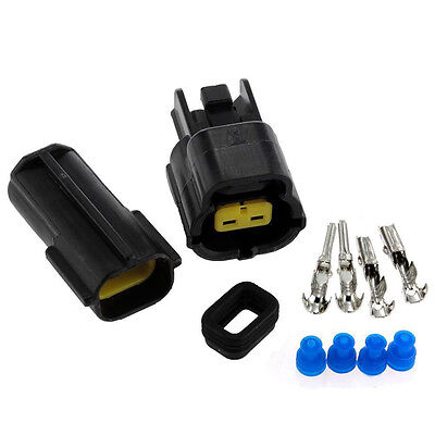 Sealed Electrical 2 Kits 2 Pin Way Waterproof Wire Connector Plug Set Car