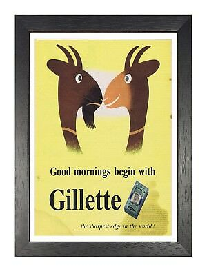 Gillette 3 - Classic Vintage Retro Poster Bathroom Old Advert Goats Picture