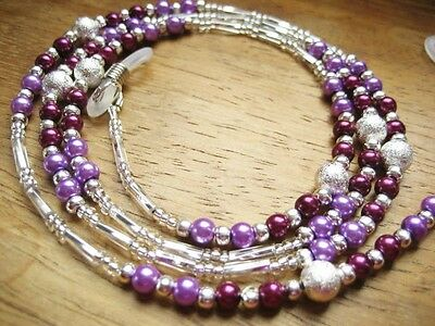Spectacles Chain / Glasses Chain / Lanyard / Purple & Silver Beaded  Handmade UK