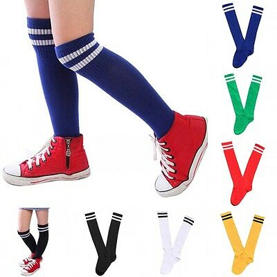 UK Child Boy Girl Sport Football Soccer Long Sock Baseball Hockey Over Knee Sock