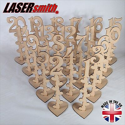 Freestanding Wooden MDF Table Numbers  Balloon Weights for Weddings etc - Craft