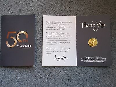Pepsico 50Th Anniversary Limited Edition Lapel Pin W/certificate Of Authenticity