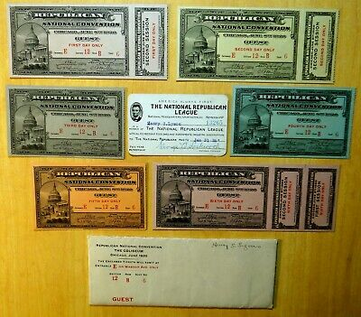 rare Set of 6 REPUBLICAN NATIONAL CONVENTION TICKETS 1920 President HARDING nice