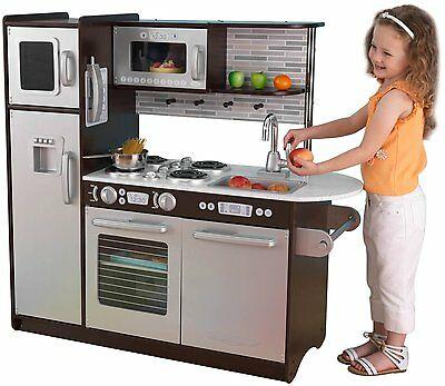 KidKraft Uptown Espresso Pretend Play Kids Wooden Kitchen Set 53260 New