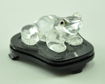 Vintage Lucky Frog Clear Crystal Stone Hand Carved Carving Figurine wood stand
