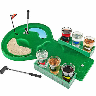 Table Golf Shot Glass Drinking Game Set - Game Night College Party Gag Gift
