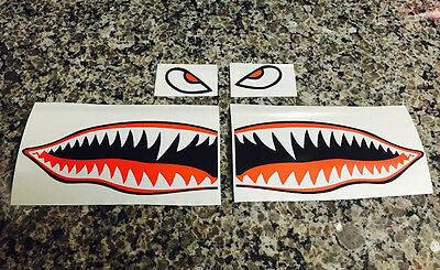 "12"" Flying Tigers Shark Teeth A-10 Warthog Decals Stickers Warhawk Fighter Jet"