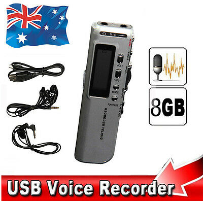 USB Rechargeable 8GB Digital Voice Telephone Recorder Dictaphone MP3 Player SR