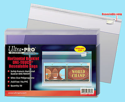 50 ULTRA PRO HORIZONTAL BOOKLET ONE TOUCH RESEALABLE BAGS Trading Sports Cards