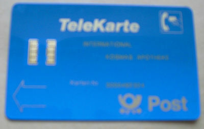 Telekarte International Post mit geteiltem Chip, Kaschierung RS