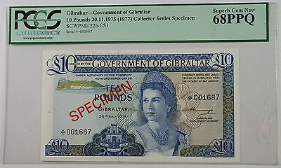 1975 Gibraltar 10 Pounds Specimen Note SCWPM# 22a-CS1 PCGS 68 PPQ Superb Gem
