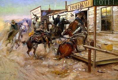 Western Falso D'autore Charles Marion Russell 1909 Quadro Nuovo Dipinto A Mano