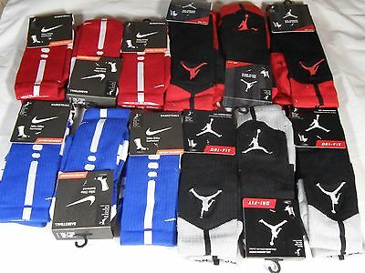 New Nike Dri Fit Elite Cushioned & Air Jordan Crew Basketball Socks 2 Pair Pack