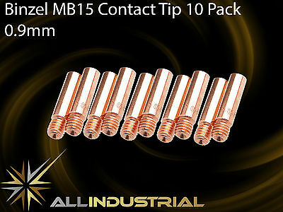 MIG Contact Tip - MB15 24KD - 0.9mm- Binzel Style - M6 x 6mm x 25mm  (10 Pack)