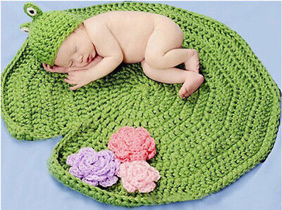Infant Baby Crochet Frog Hat Blanket Set Photography Studio Props Costume Cute