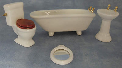 1.12 Scale 4 Piece White Ceramic Bathroom Suite, Doll House Miniature Accessory