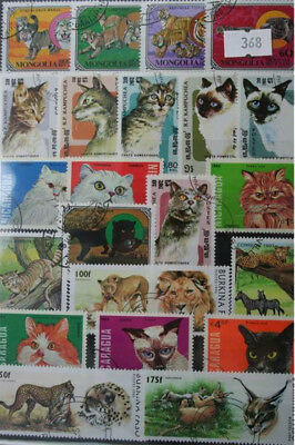 50 Cats stamps, All different. (368)