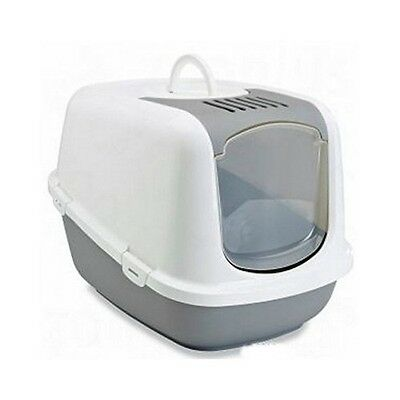 Large Litter Tray Covered Cat Loo Hooded Pet Box Carbon Filter White Grey XXL UK