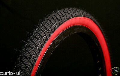 2 of BMX TYRES TIRES BLACK RED WALL  20 X 2.125 LS214