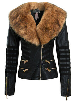 NEW Faux Fur BIKER JACKET Womens Fitted FAUX LEATHER Ladies Size 8 10 12 14 16