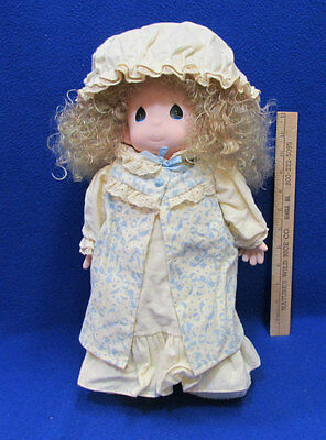 "Vintage Precious Moments 16"" Doll Dawn In Nightgown Robe Cap Slippers #1057"