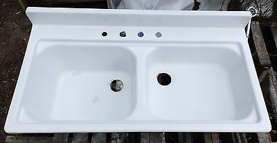 Vintage Steel White Porcelain Double Basin Deep Shallow Old Kitchen Sink 5288-15