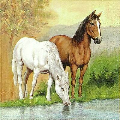 4x Single Table Party Paper Napkins for Decoupage Decopatch Craft Horses