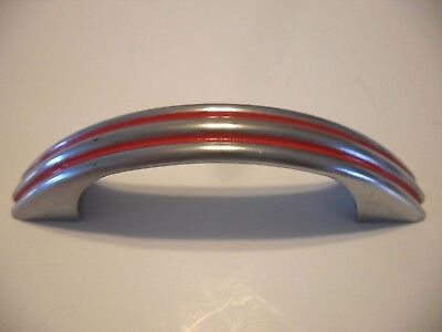 VINTAGE 1940's CHROME Steel Drawer Pulls RED Lines Ribbed Cabinet Door Handles