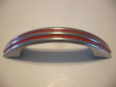 Vtg 40's CHROME Steel Drawer Pulls 2 RED Lines Ribbed Cabinet Door Handles retro
