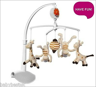 Universal Nursery Baby Cot Bed Mobile Music Lullaby Soft Toys - Giraffe & Monkey
