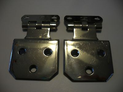 "Vtg Antique CHROME Cabinet Door HINGES Beveled Corners 1/4"" Offset Stanley SW"