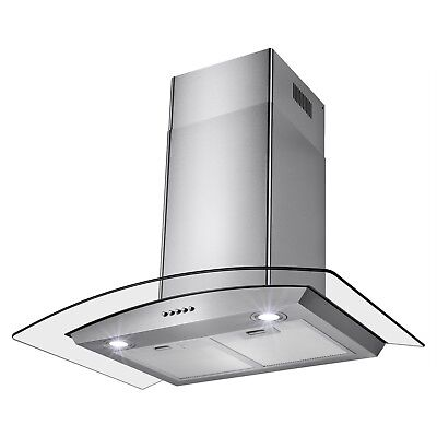 """30"""" Wall Mount Stainless Steel Touch Screen Control Ductless Range Hood"""