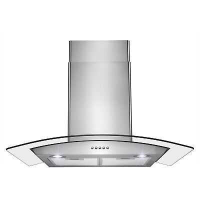 "30"" Stainless Steel Push Control Vent Fan Wall Mount Kitchen Cooking Range Hood"