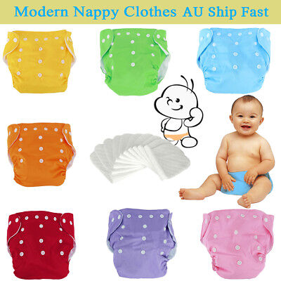 9XMulti-Color Reusable Modern Baby Cloth Nappies Diapers Adjustable + 10 inserts