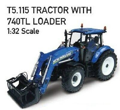 NEW HOLLAND REPLICA T5.115 TRACTOR WITH 740TL LOADER SCALE 1:32 Part# UH4274