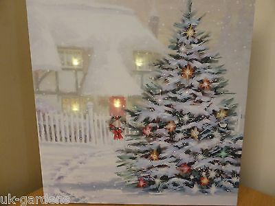 30x30cm Christmas Tree Picture Canvas - Snowy Wall Decoration With LED Lights