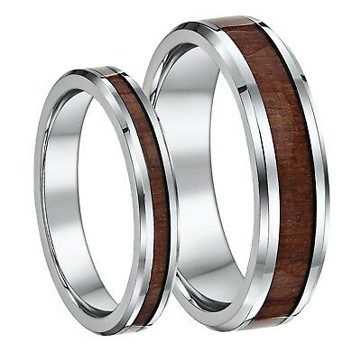 His & Hers Titanium Wedding Ring Band Set with wood grained inlay 4mm & 6mm