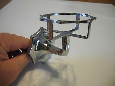 Vintage 1940's GERITY Chrome Glass Tumbler Cup Holder Wall Mount Bathroom fluted
