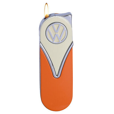 Official VW Camper Van Metal Slimline Gas Lighter in gift box - White + Orange