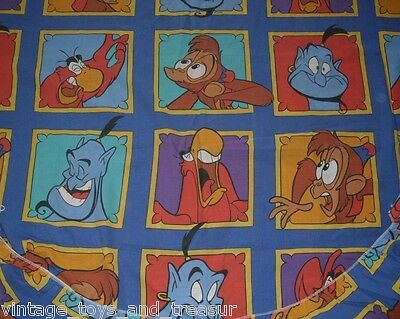 1 Vintage Aladdin Disney Twin Fitted Sheet Bedding Bed Abu Genie Iago Red Bird