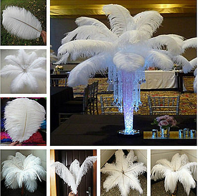 1-100pcs White Ostrich Feathers Wedding Party Decorations 6-30 inch/15-75cm