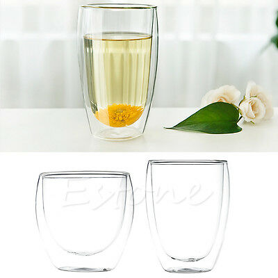 Heat Resistant Double Wall Glass Tea Cup Coffee Mug Beverage Shot Cups