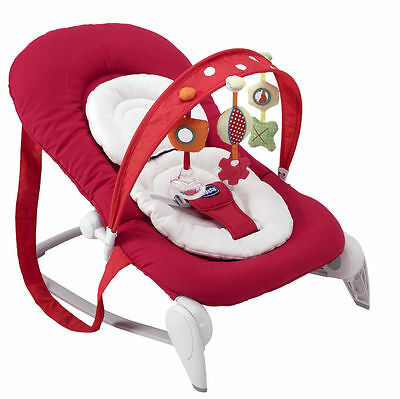 New Chicco Red Hoopla Bouncer Adjustable Baby Rocker Chair From Birth