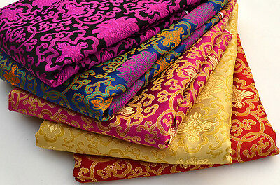 By 1/2 Yard Tibet Silk Damask Jacquard Brocade Fabric : Holy Lotus Dorje Cross